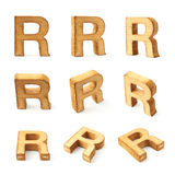 Set of nine block wooden letters isolated Royalty Free Stock Photos
