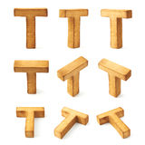 Set of nine block wooden letters isolated Stock Photos