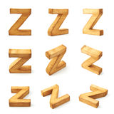 Set of nine block wooden letters isolated Stock Images