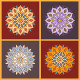 Set of nine blue color oriental flower mandala on dark backgroun Stock Photo