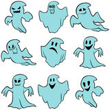 Set of nine blue flying ghosts. With various characters  on a white background, cartoon Halloween vector illustration Royalty Free Stock Photo