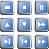 Set of nine blue multimedia buttons; isolated Royalty Free Stock Photo