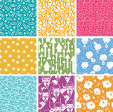 Set of nine business seamless patterns backgrounds Stock Image