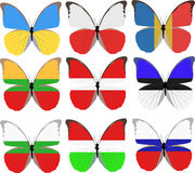 Set of nine butterflies colored in national flags Royalty Free Stock Photo