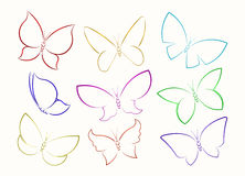 Set of nine butterfly full color vector outline silhouettes. Royalty Free Stock Images