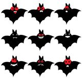 Set of nine cartoon bats Royalty Free Stock Photography