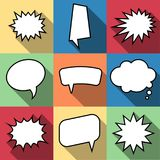 Set of nine cartoon comic balloon speech bubbles in flat style. Elements of design comic books without phrases. Vector illustration Stock Photography