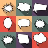 Set of nine cartoon comic balloon speech bubbles in flat style. Elements of design comic books without phrases. Vector illustration Royalty Free Stock Photo