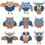 Set of nine cartoon funny owlsv Stock Photo