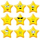 Set of nine cartoon gold stars Stock Photography