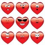 Set of nine cartoon hearts Stock Image