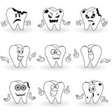 Set of nine characters of funny cartoon teeth Stock Images