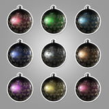Set of nine Christmas balls with the ornament. Set of nine Christmas balls with the snowflake ornament isolated with a stroke royalty free illustration