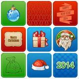Set of nine christmas retro cards. New Years cards with inscriptions and cartoon icons Royalty Free Stock Photos
