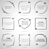 Set of nine citations in tex boxes, frames and quotes. Vector Royalty Free Stock Photos