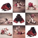 Set of nine closeups on bandoneon with male hut and female tango. Shoes on various backgrounds Stock Photos