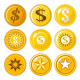 Set of nine coins or tokens Royalty Free Stock Photos