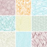 Set of nine colored wavy curly seamless textures Royalty Free Stock Photo