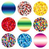 Set of nine colorful circles of rhombuses isolated on white background. Abstract vector background Stock Photo