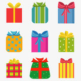 Set of nine colorful of different gift  boxes Stock Images