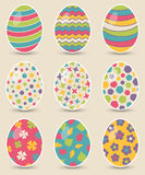 Set of nine colorful easter eggs Stock Photo