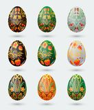 Set of nine colorful Easter eggs stylized Russian khokhloma pattern Stock Images