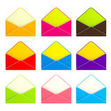Set of nine colorful envelopes isolated Royalty Free Stock Photos