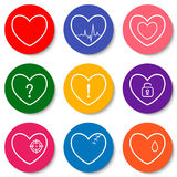Set of nine colorful flat heart icons. Double hearts, broken heart, heartbeat, locked heart. Valentine Day icons. Royalty Free Stock Photos