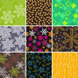 Set of nine colorful flowers pattern Stock Photography