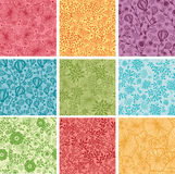 Set Of Nine Colorful Flowers Seamless Patterns Stock Image
