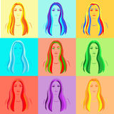 Set of nine colorful girls portraits Royalty Free Stock Image