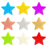 Set of nine colorful glossy stars isolated. On white Stock Illustration