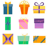 Set of nine colorful icons of gift boxes Royalty Free Stock Images