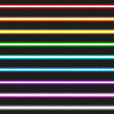 Set of nine colorful laser beams. Isolated, vector, eps 10 stock illustration