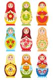 Set Of Nine Colorful Nesting Dolls. Painting in traditional handmade russian ornament isolated vector illustration Stock Photography