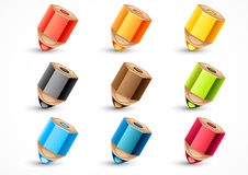 Set of nine colorful pencils. On white background Stock Illustration