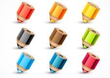 Set of nine colorful pencils. On white background Stock Photo