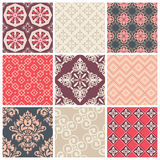 Set of nine colorful seamless patterns Stock Images