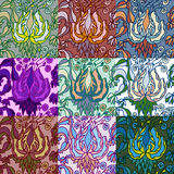 Set of nine colorful seamless patterns. Royalty Free Stock Photo