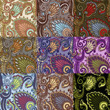 Set of nine colorful seamless patterns. EPS-8. Stock Image