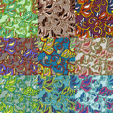 Set of nine colorful seamless patterns. EPS-8. Stock Photos