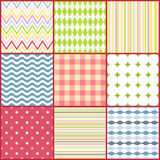 Set of nine colorful seamless patterns Royalty Free Stock Photos