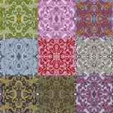 Set of nine colorful seamless patterns. Stock Photo
