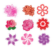 Set of nine colors for flower pattern Stock Images
