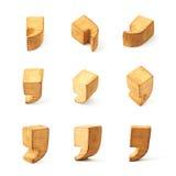 Set of nine comma symbols isolated Royalty Free Stock Images