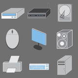 Set of nine computer-tematic icons. Royalty Free Stock Images