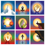 Set of nine concepts relating to the spirit and energy. Vector illustration Stock Photo