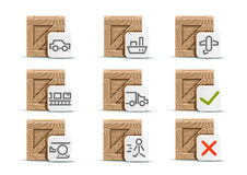 Set of nine crates for delivery. By different transport on white background Vector Illustration