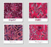 Set of nine creative Abstract Patterns or Backgrounds with colorful tropical leaves Stock Photography