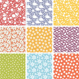 Set of nine cute elements seamless patterns Stock Images